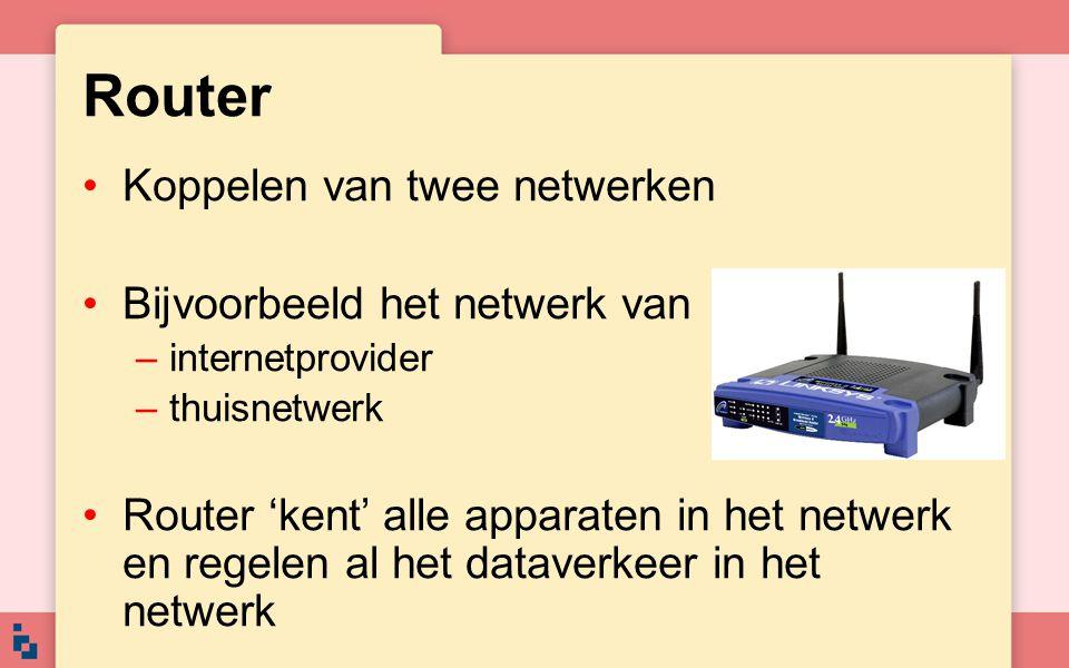 Router Koppelen van twee netwerken Bijvoorbeeld het netwerk van