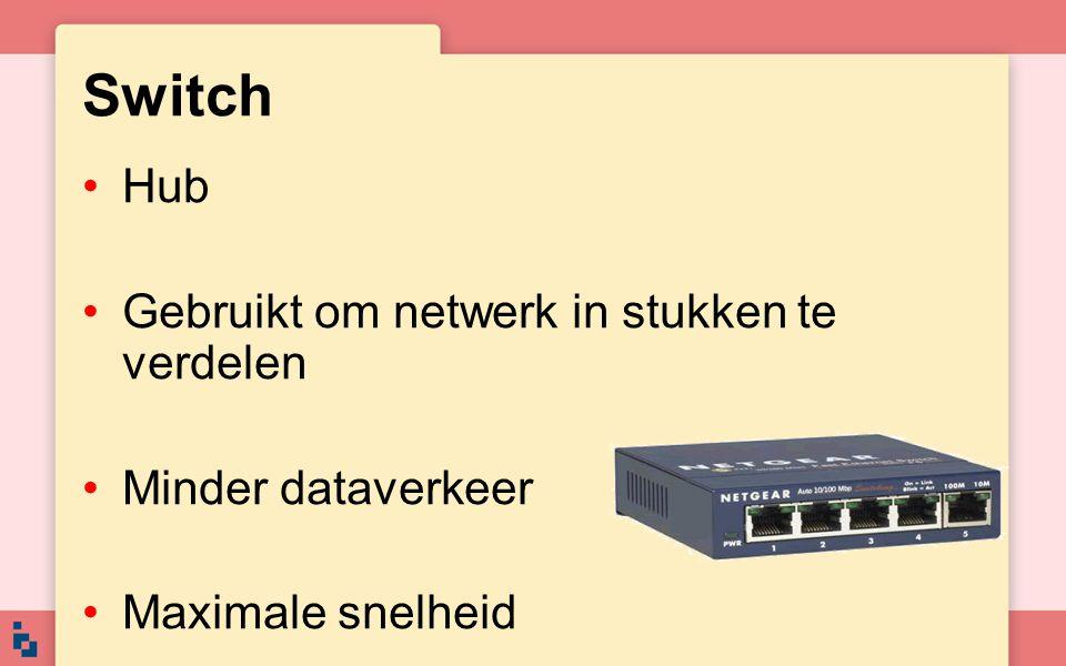 Switch Hub Gebruikt om netwerk in stukken te verdelen