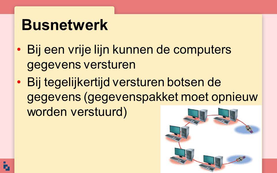 Busnetwerk Bij een vrije lijn kunnen de computers gegevens versturen