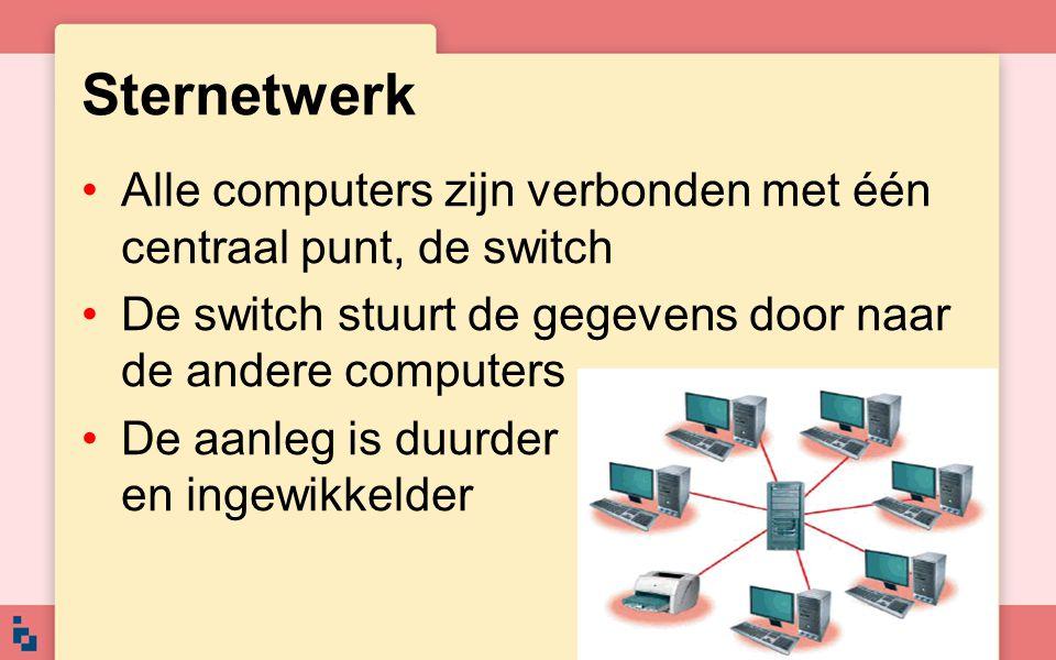 Sternetwerk Alle computers zijn verbonden met één centraal punt, de switch. De switch stuurt de gegevens door naar de andere computers.
