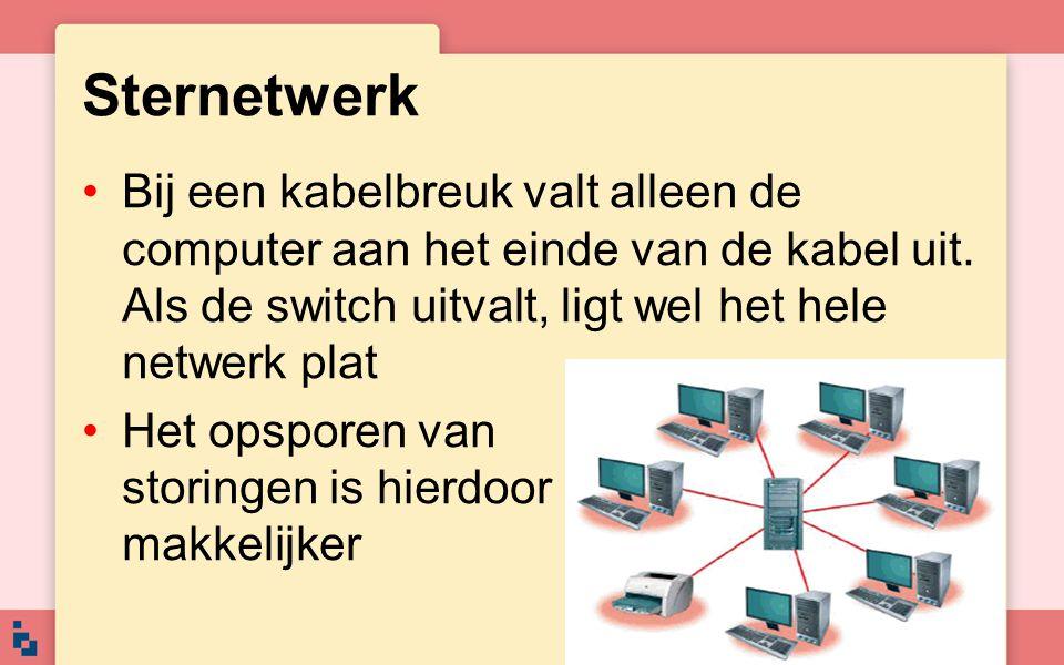 Sternetwerk Bij een kabelbreuk valt alleen de computer aan het einde van de kabel uit. Als de switch uitvalt, ligt wel het hele netwerk plat.