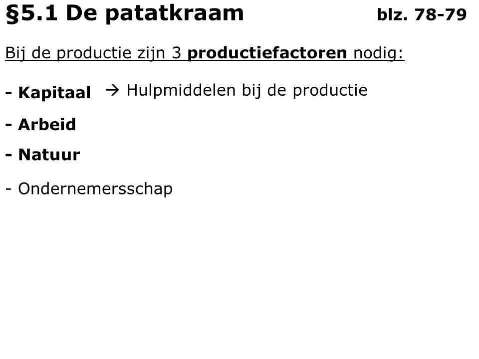 §5.1 De patatkraam blz. 78-79 Bij de productie zijn 3 productiefactoren nodig: - Kapitaal.  Hulpmiddelen bij de productie.