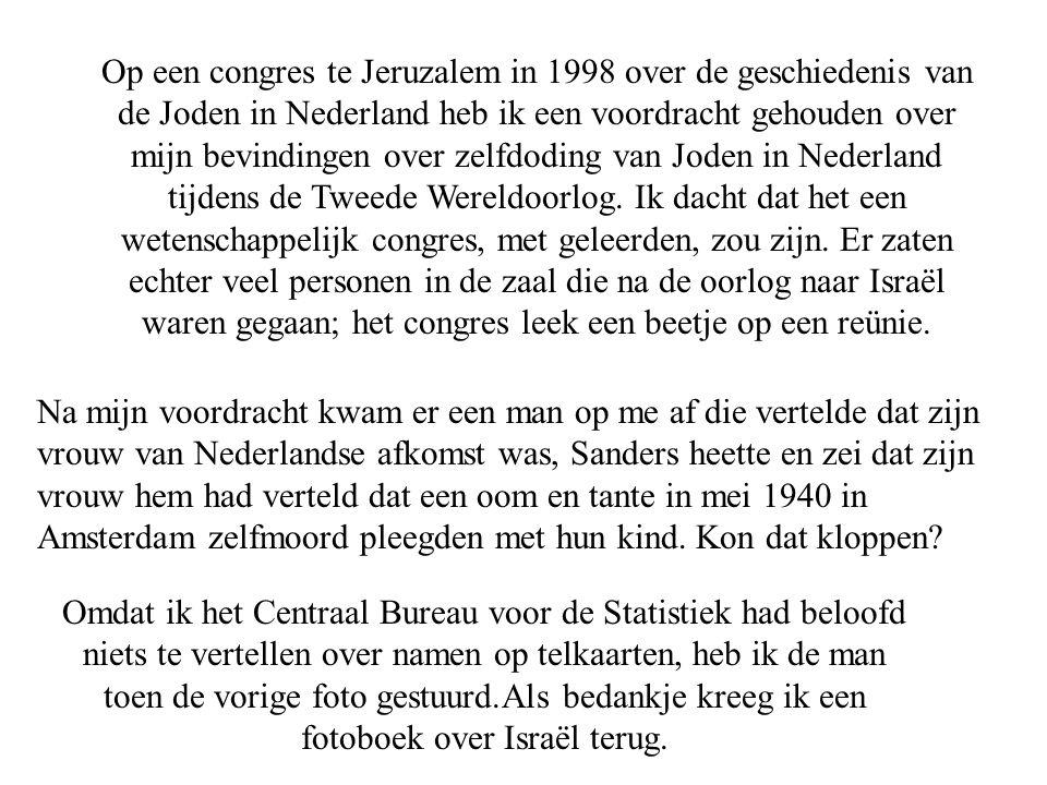Op een congres te Jeruzalem in 1998 over de geschiedenis van de Joden in Nederland heb ik een voordracht gehouden over mijn bevindingen over zelfdoding van Joden in Nederland tijdens de Tweede Wereldoorlog. Ik dacht dat het een wetenschappelijk congres, met geleerden, zou zijn. Er zaten echter veel personen in de zaal die na de oorlog naar Israël waren gegaan; het congres leek een beetje op een reünie.