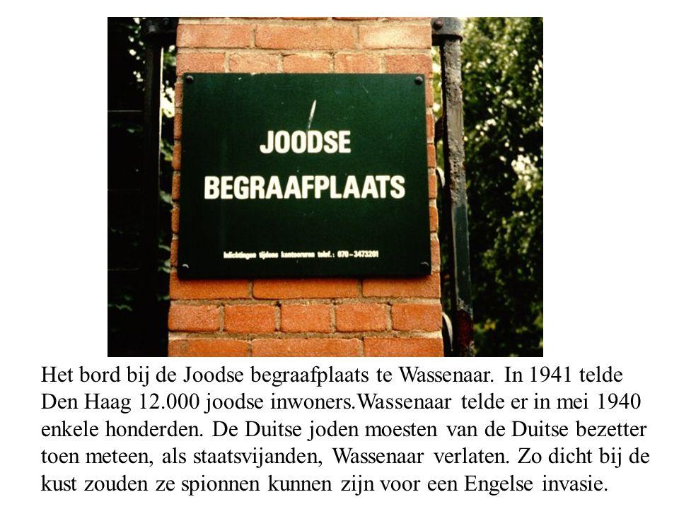 Het bord bij de Joodse begraafplaats te Wassenaar