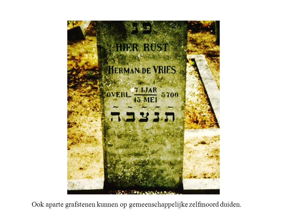 Ook aparte grafstenen kunnen op gemeenschappelijke zelfmoord duiden.