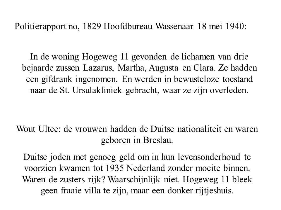 Politierapport no, 1829 Hoofdbureau Wassenaar 18 mei 1940: