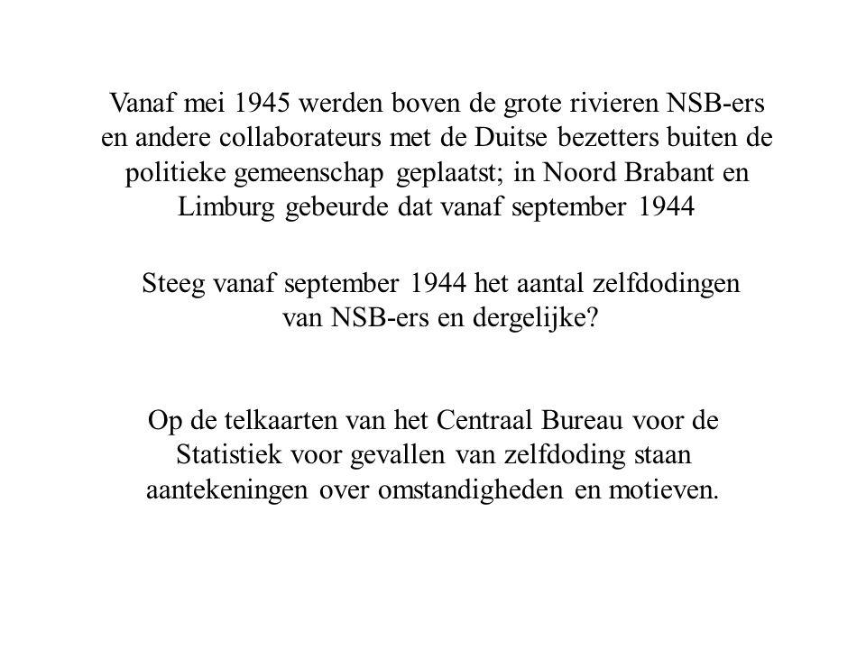 Vanaf mei 1945 werden boven de grote rivieren NSB-ers en andere collaborateurs met de Duitse bezetters buiten de politieke gemeenschap geplaatst; in Noord Brabant en Limburg gebeurde dat vanaf september 1944