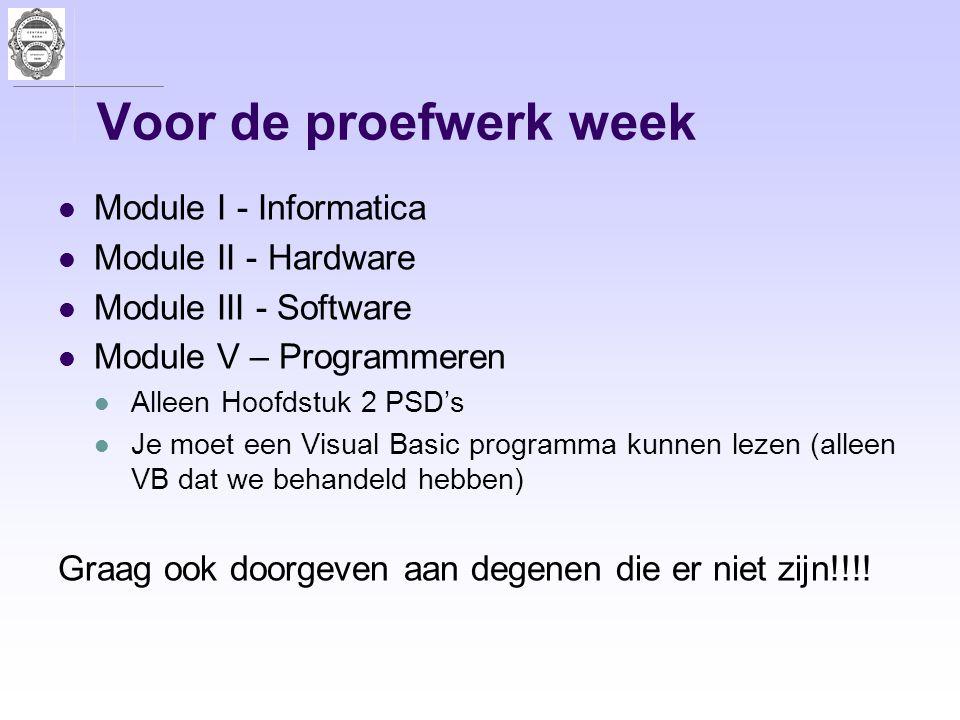 Voor de proefwerk week Module I - Informatica Module II - Hardware