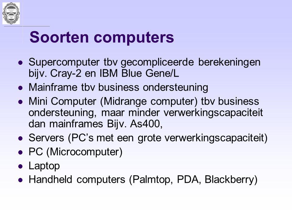 Soorten computers Supercomputer tbv gecompliceerde berekeningen bijv. Cray-2 en IBM Blue Gene/L. Mainframe tbv business ondersteuning.