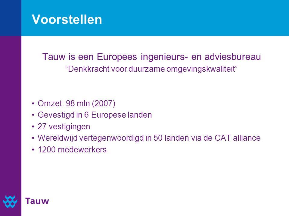 Voorstellen Tauw is een Europees ingenieurs- en adviesbureau