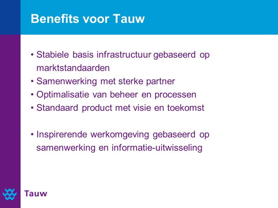 Benefits voor Tauw Stabiele basis infrastructuur gebaseerd op marktstandaarden. Samenwerking met sterke partner.