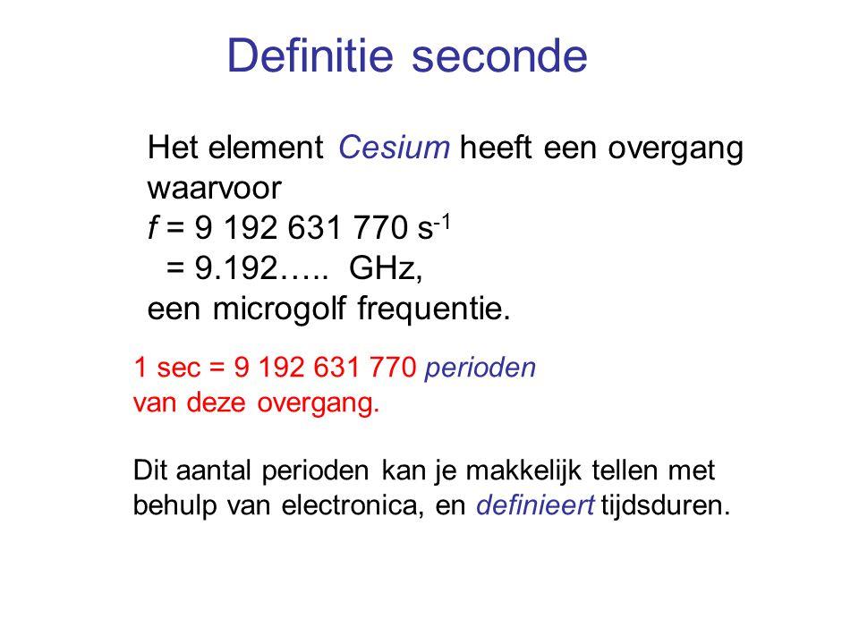 Definitie seconde Het element Cesium heeft een overgang waarvoor