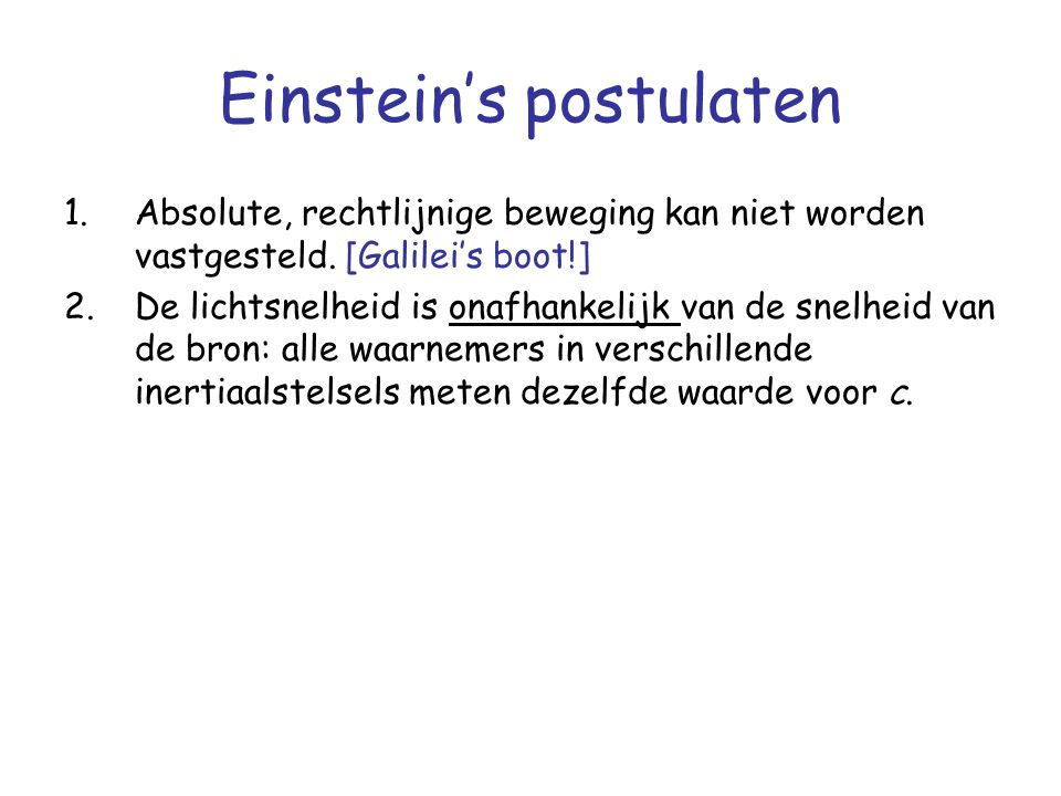 Einstein's postulaten