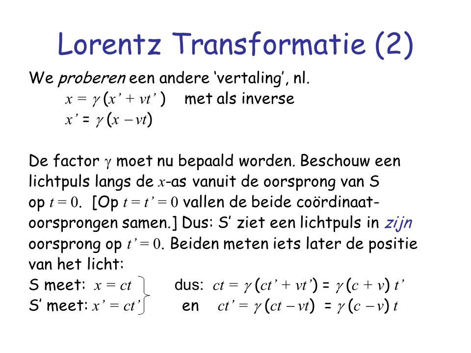 Lorentz Transformatie (2)