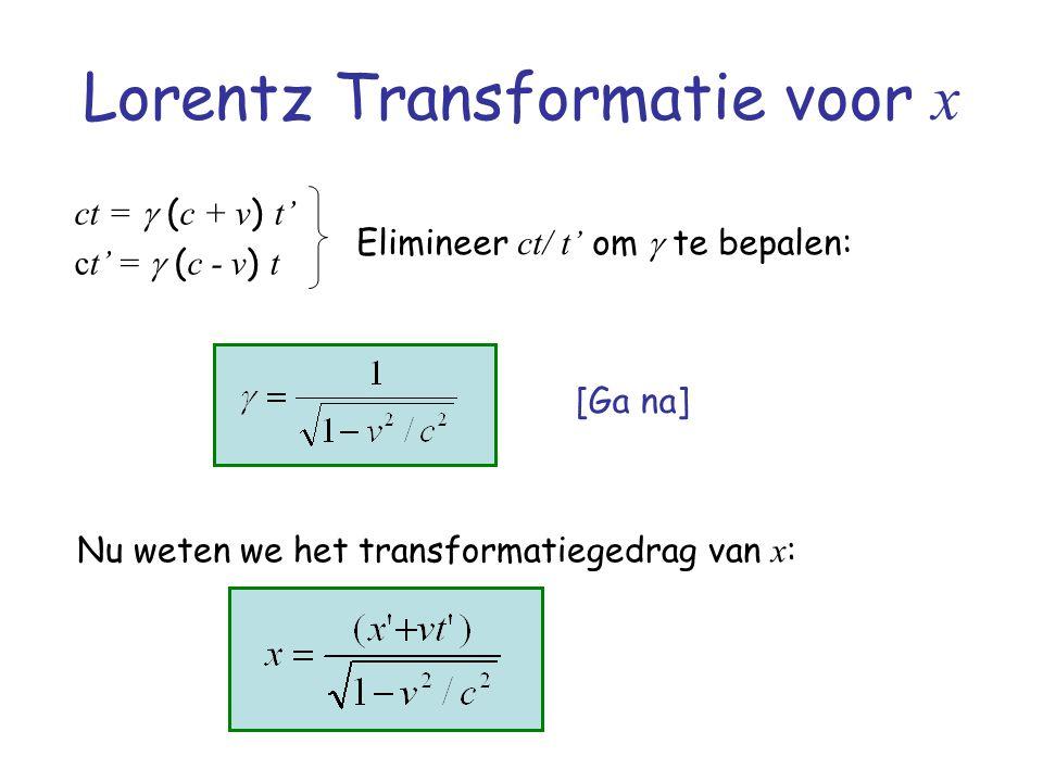 Lorentz Transformatie voor x