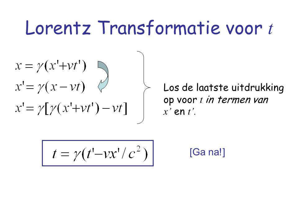 Lorentz Transformatie voor t