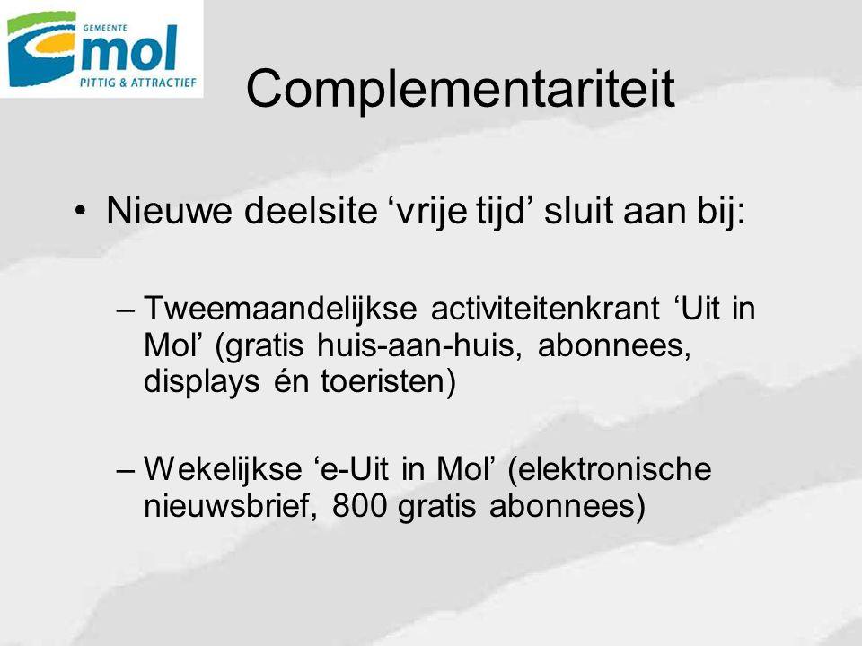 Complementariteit Nieuwe deelsite 'vrije tijd' sluit aan bij: