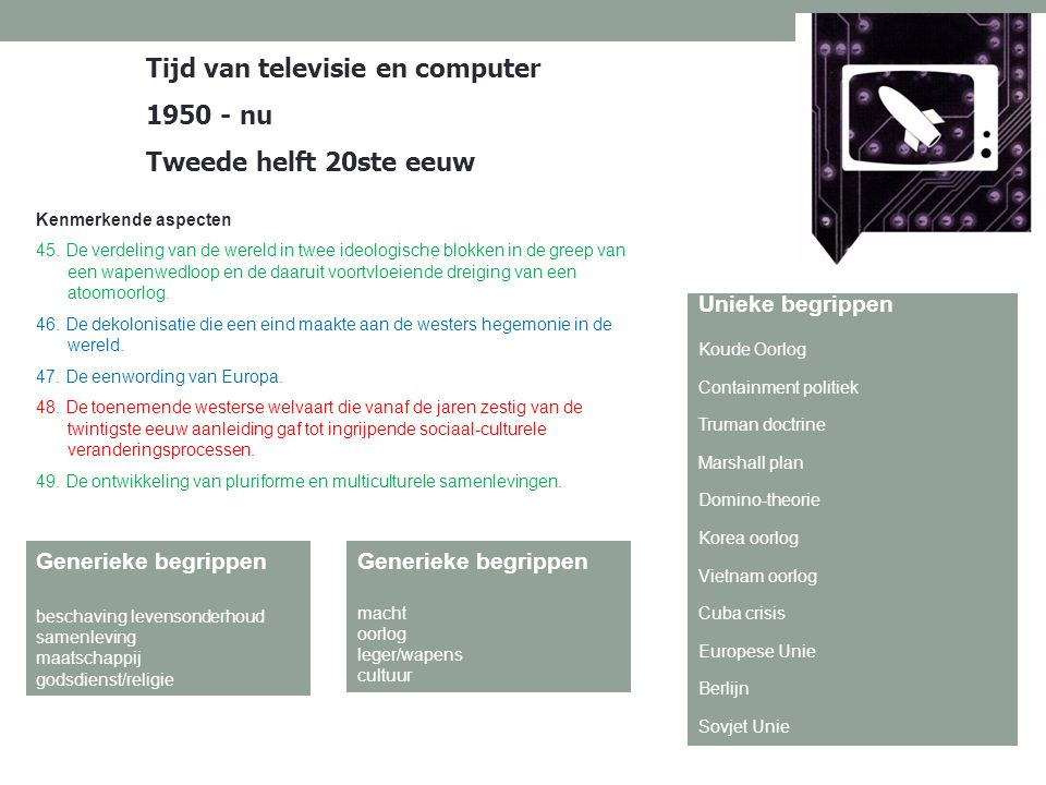 Tijd van televisie en computer 1950 - nu Tweede helft 20ste eeuw