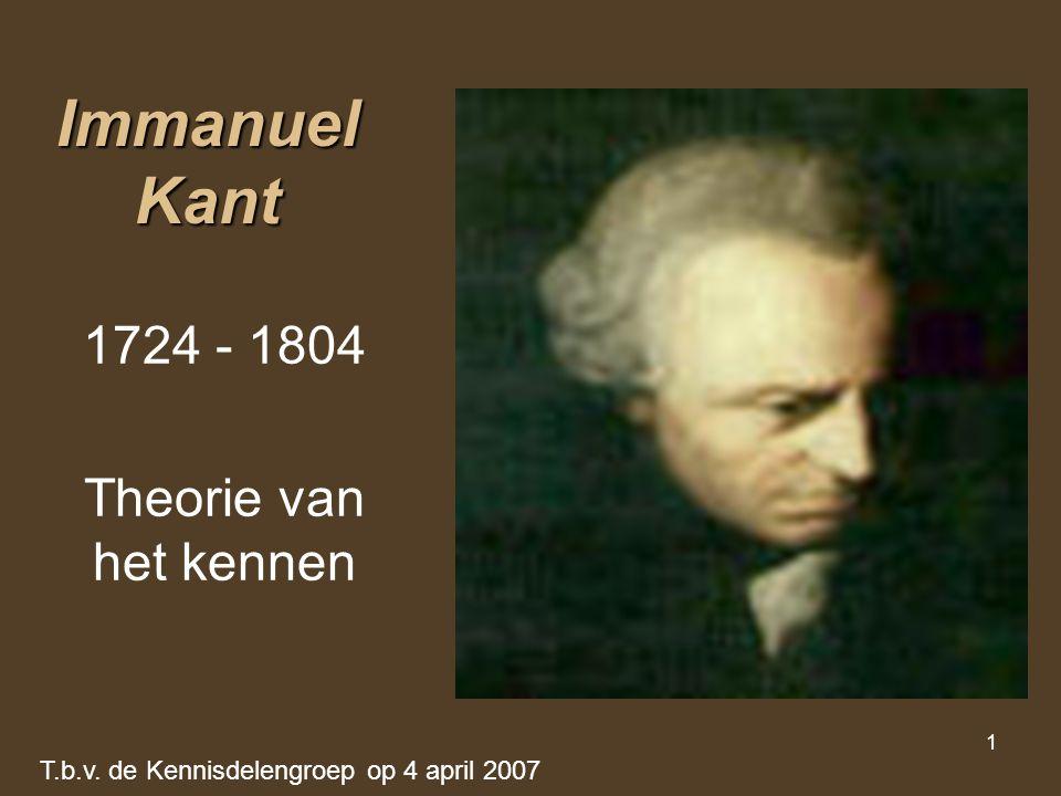 Immanuel Kant 1724 - 1804 Theorie van het kennen