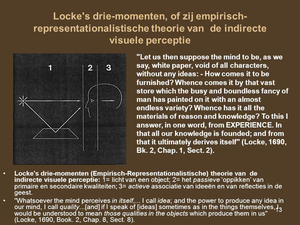 Locke s drie-momenten, of zij empirisch-representationalistische theorie van de indirecte visuele perceptie