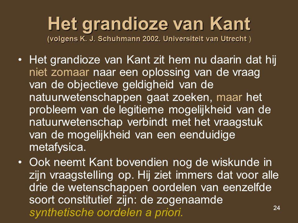 Het grandioze van Kant (volgens K. J. Schuhmann 2002