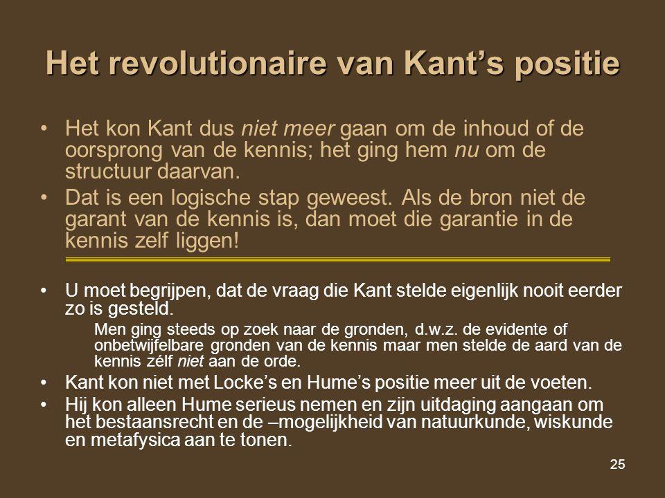 Het revolutionaire van Kant's positie