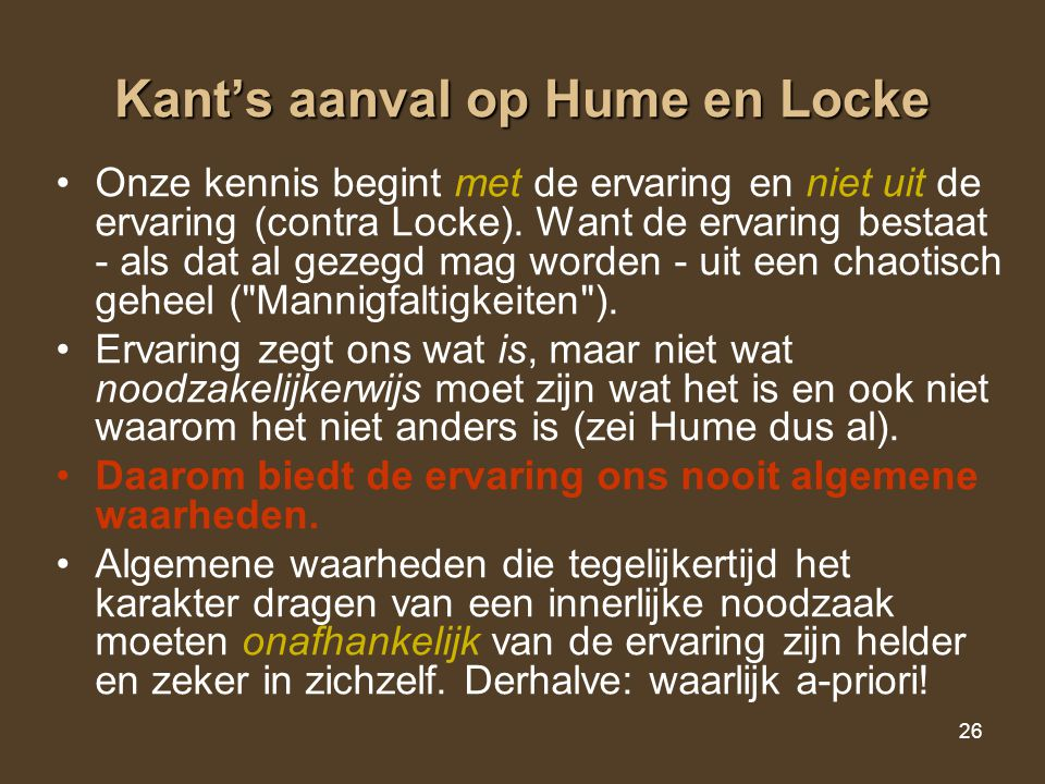 Kant's aanval op Hume en Locke