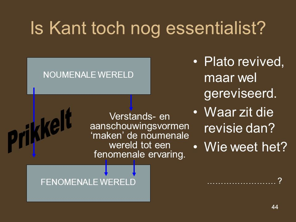 Is Kant toch nog essentialist