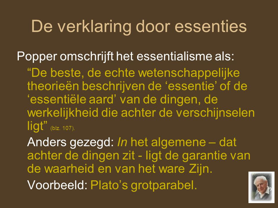 De verklaring door essenties