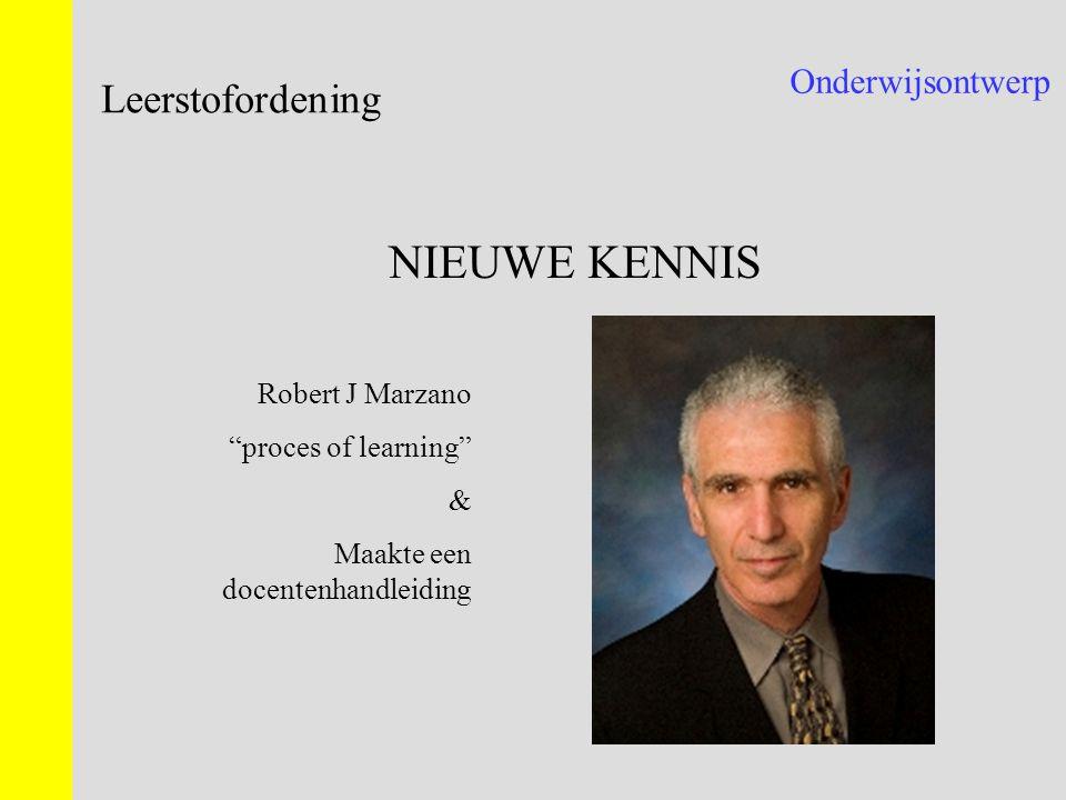 NIEUWE KENNIS Leerstofordening Onderwijsontwerp Robert J Marzano