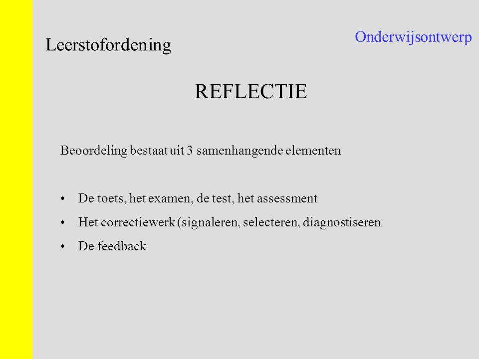 REFLECTIE Leerstofordening Onderwijsontwerp