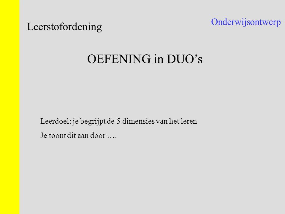 OEFENING in DUO's Leerstofordening Onderwijsontwerp