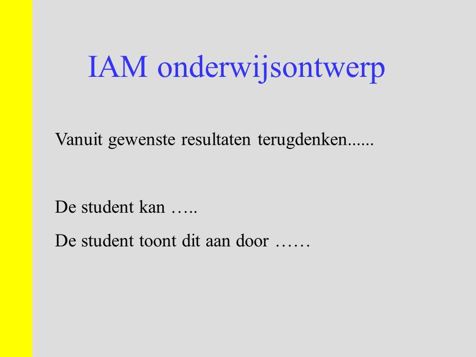 IAM onderwijsontwerp Vanuit gewenste resultaten terugdenken......