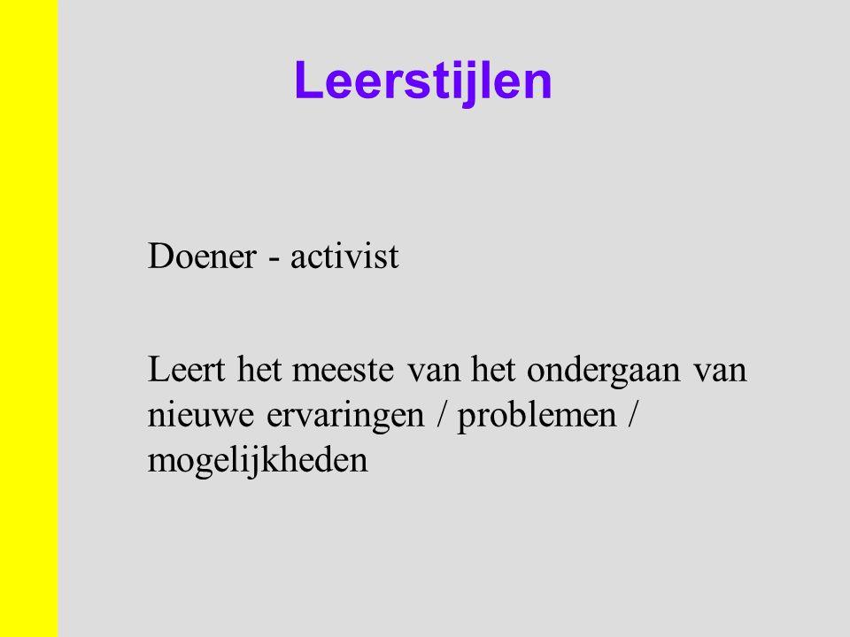 Leerstijlen Doener - activist