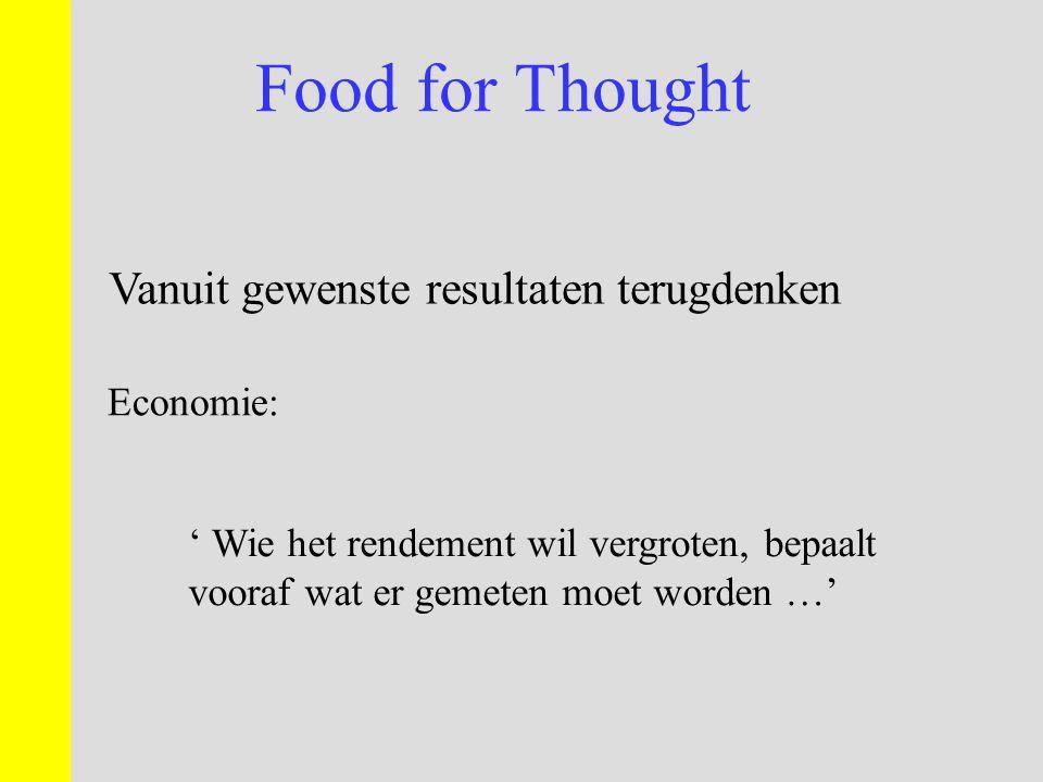 Food for Thought Vanuit gewenste resultaten terugdenken Economie: