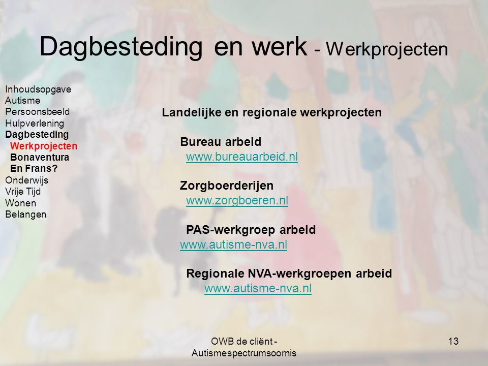 Dagbesteding en werk - Werkprojecten