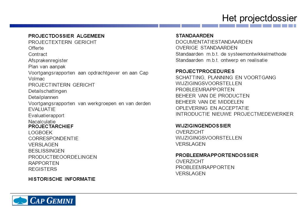 Het projectdossier PROJECTDOSSIER ALGEMEEN STANDAARDEN
