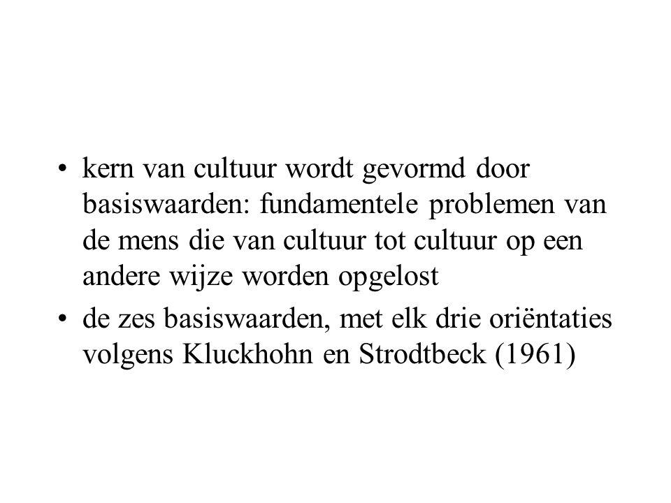 kern van cultuur wordt gevormd door basiswaarden: fundamentele problemen van de mens die van cultuur tot cultuur op een andere wijze worden opgelost