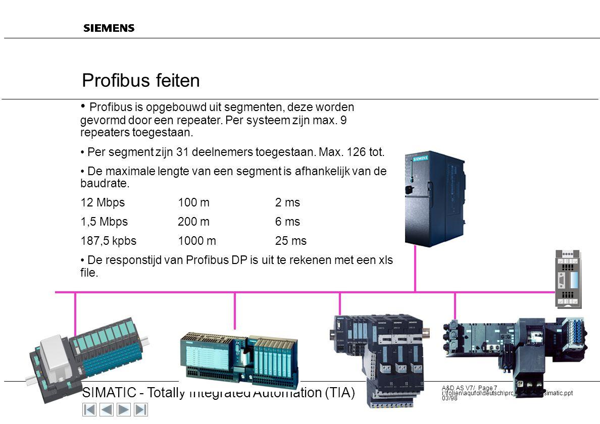 Profibus feiten Profibus is opgebouwd uit segmenten, deze worden gevormd door een repeater. Per systeem zijn max. 9 repeaters toegestaan.