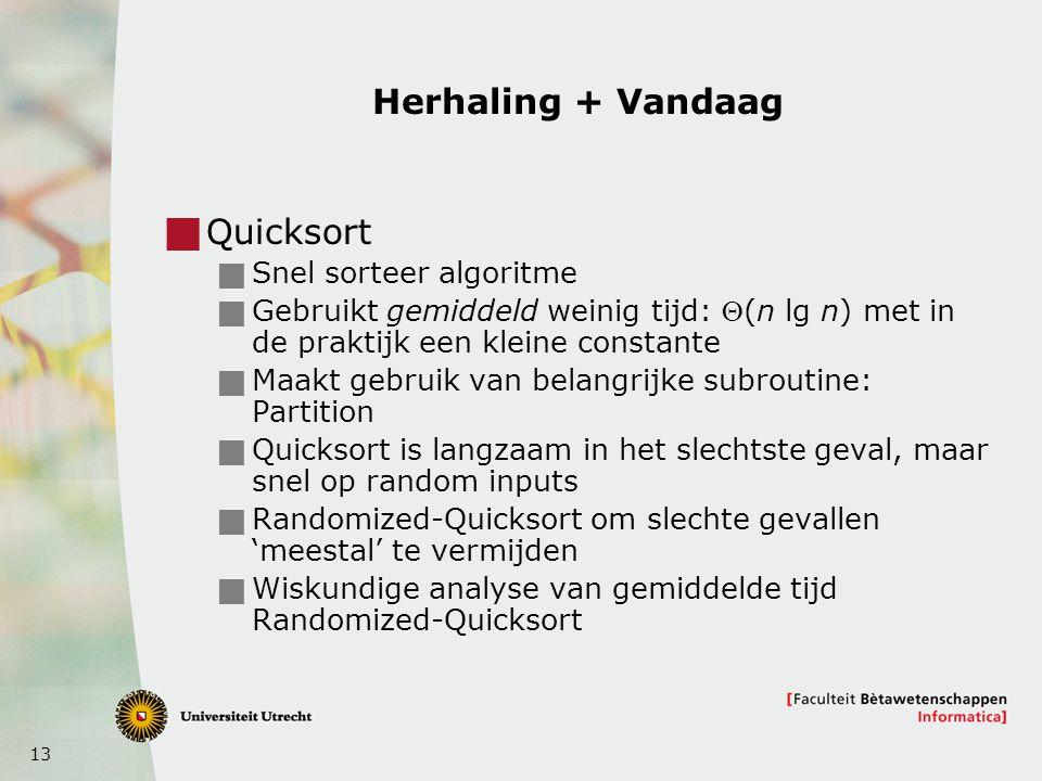 Herhaling + Vandaag Quicksort Snel sorteer algoritme