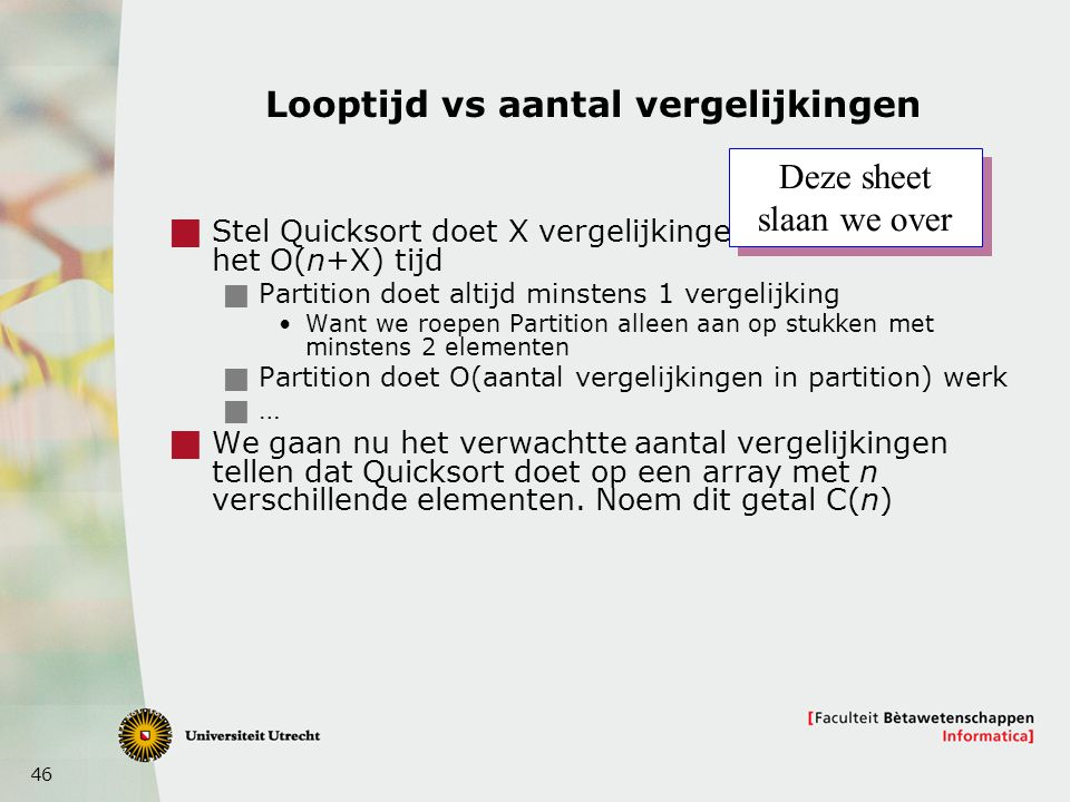 Looptijd vs aantal vergelijkingen