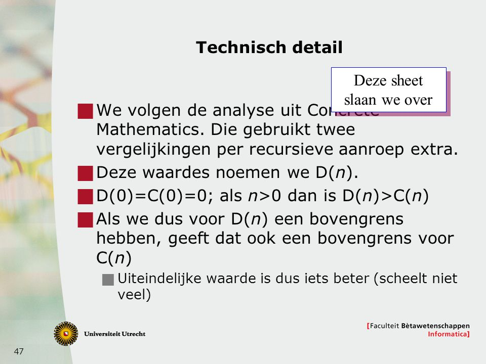 Deze sheet slaan we over