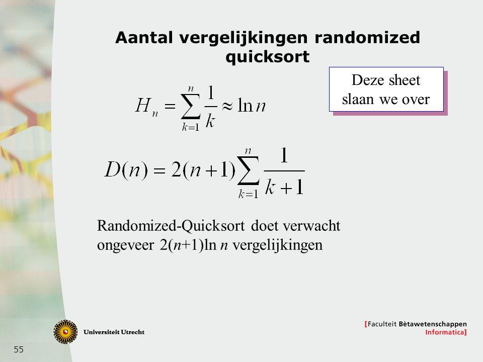Aantal vergelijkingen randomized quicksort