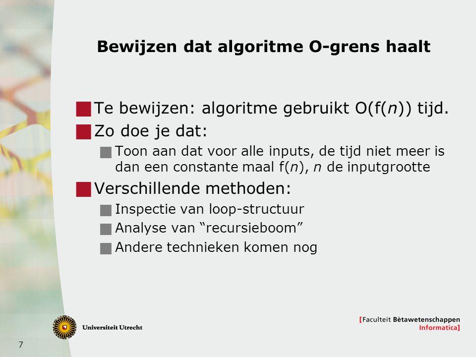 Bewijzen dat algoritme O-grens haalt