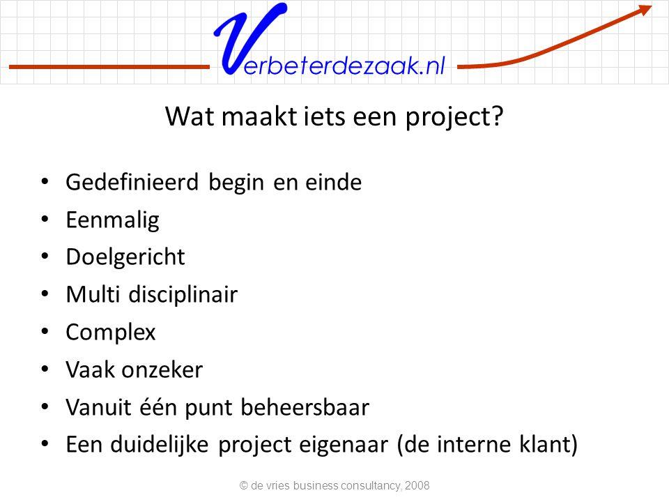 Wat maakt iets een project