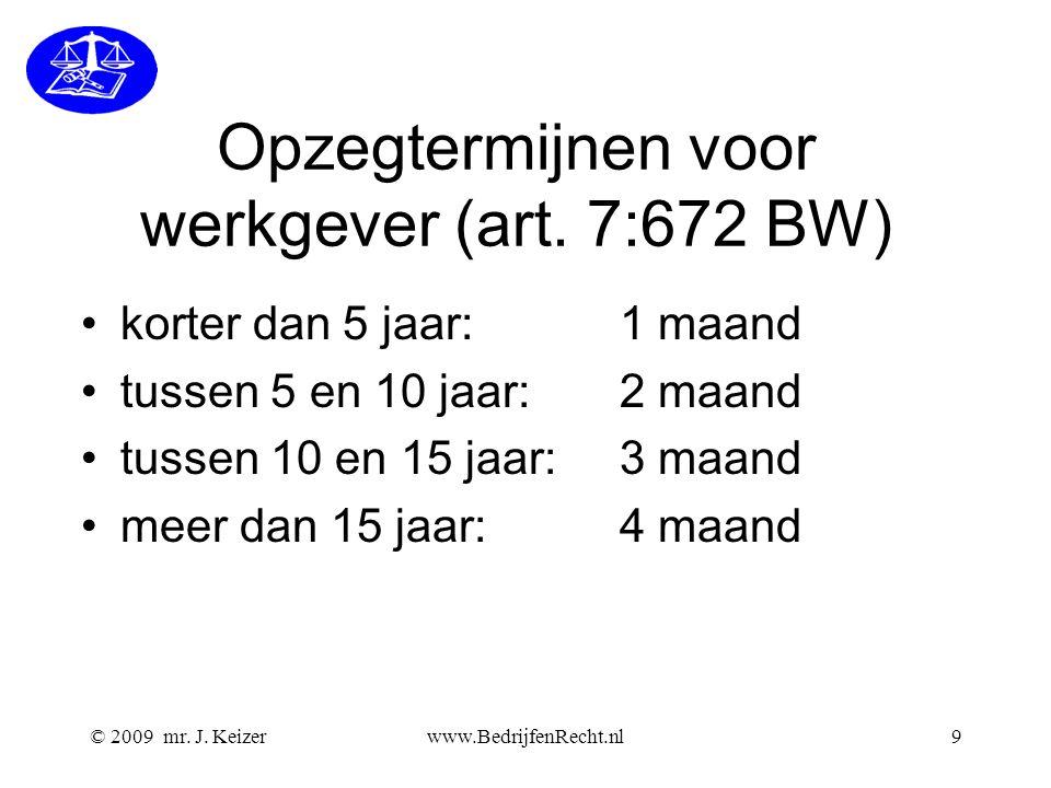 Opzegtermijnen voor werkgever (art. 7:672 BW)