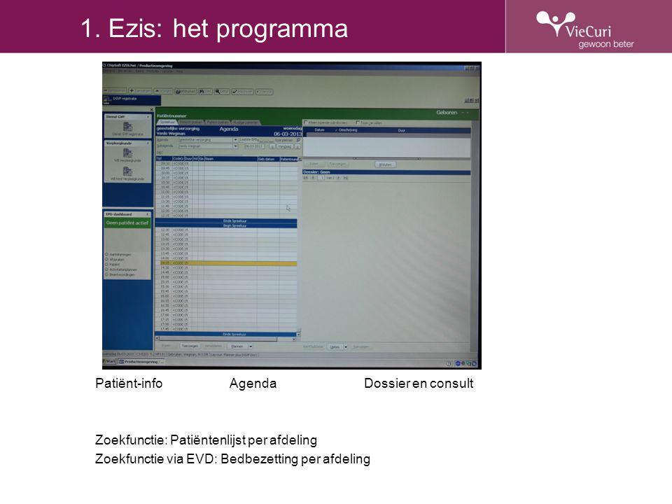 1. Ezis: het programma Patiënt-info Agenda Dossier en consult