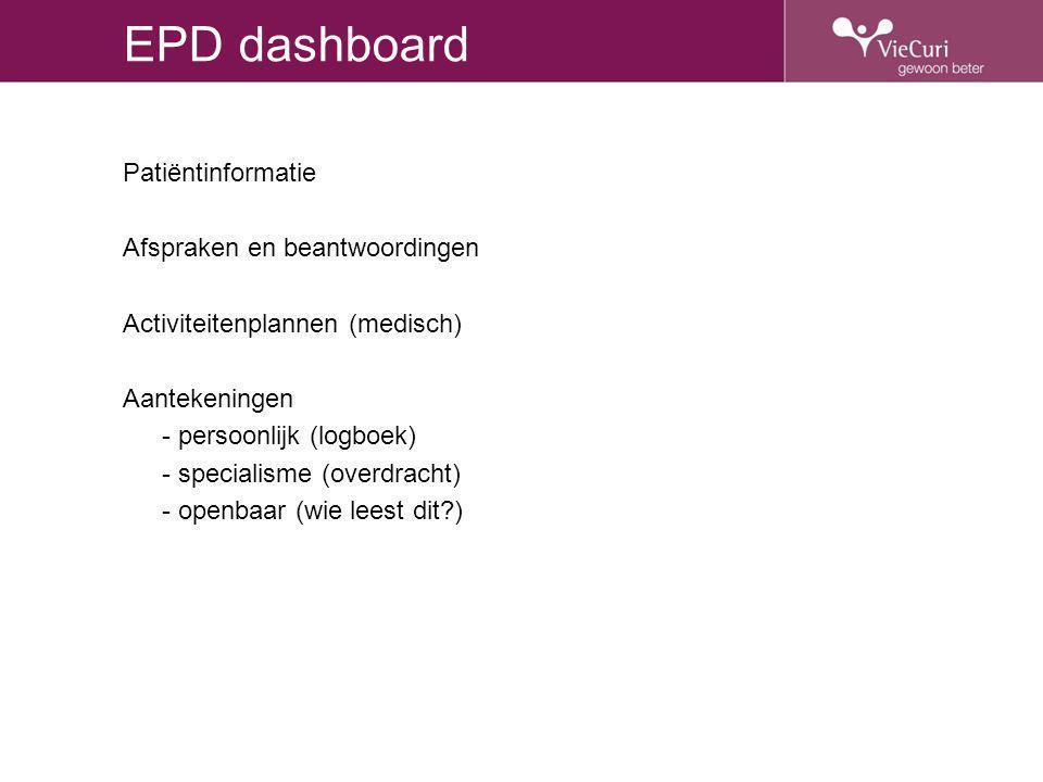 EPD dashboard Patiëntinformatie Afspraken en beantwoordingen