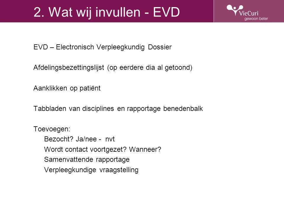 2. Wat wij invullen - EVD EVD – Electronisch Verpleegkundig Dossier