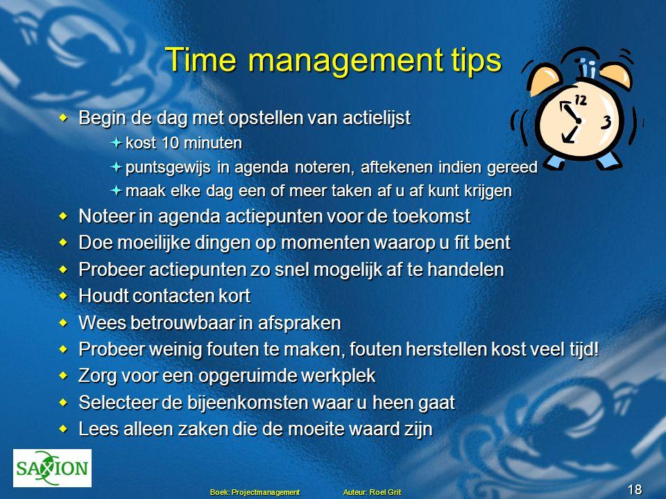 Time management tips Begin de dag met opstellen van actielijst